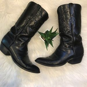Lucchese Western Boots Size 9.5 Black Leather